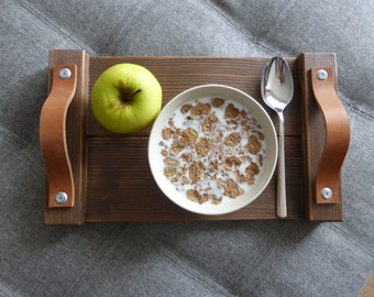 Rustic Wooden Tray Breakfast Tray Rustic Decor Leather