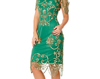 Rosemary Emerald Green Dress Vintage 1920s inspired Flapper Great Gatsby Art Deco Rehearsal Dinner Downton Abbey Speakeasy Charleston Dress