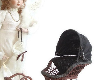 Vintage Doll Stroller, Pram, Buggy, Wicker Baby Carriage, Canvas Hood, Antique Victorian Style, Doll Display, Vintage Photo Prop