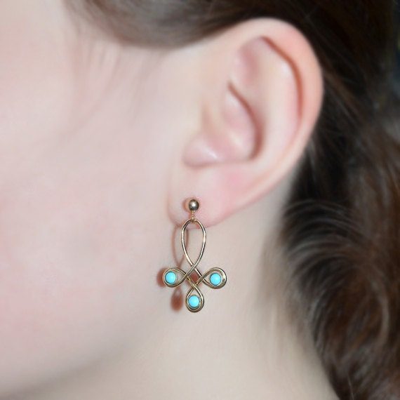 Extra Long 3mm Turquoise Dangle Earrings - 14k Gold Filled Drop Stud Earrings - Turquoise Post Earings - Bohemian Jewelry