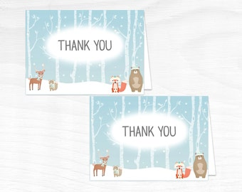 Printable Winter Woodland Thank You Card - Printable Instant Download - Woodland Baby Shower Thank You Card - Winter Woodland Thank You Card
