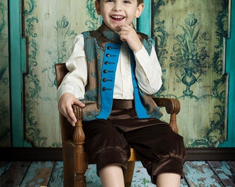Boys Prince Charming Costume | Vest and SATIN Trousers | Kids costume for a Royal, Czsar or little prince charming