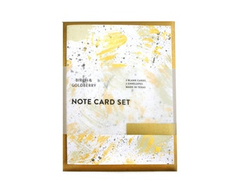 Hand-Painted Lilac, Gray & Gold Notecard Set of 3