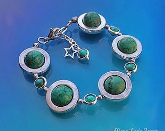 Green Planet Bracelet, Green Magnesite Bracelet, Celestial Bracelet, Galaxy Bracelet, Green Stone Bracelet, Mother's Day gift