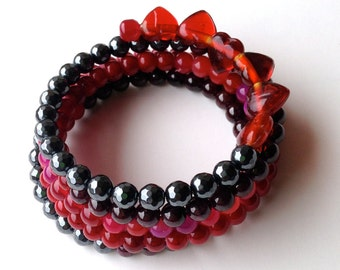 Red and Black Memory Wire Coil Bracelet with Red Hearts, Garnet and Black Hematite.