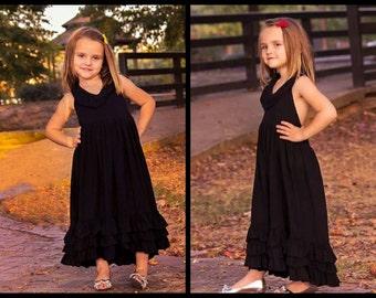 Girls Summer Dress - Black Long Girls Dress - Black Maxi Dress - Toddlers Long Dress - Girls Black Dress