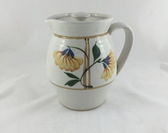 Vintage Yellow Floral Ceramic Water Pitcher With Lid