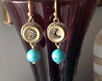 Victorian earrings with buttons with moons and turquoise