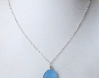 Chalcedony Blue Topaz Sterling Silver Necklace