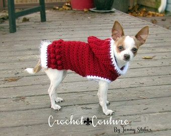 Hooded Dog Sweater PATTERN, Crochet Dog Hoodie, Dog Coat - 2 Sizes - XS S, Extra Small, Small - Holiday Hoodie Pattern