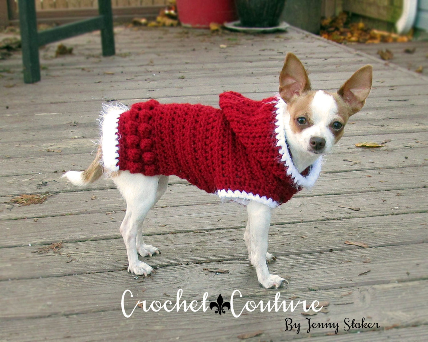 Hooded Dog Sweater PATTERN, Crochet Dog Hoodie, Dog Coat - 2 Sizes ...