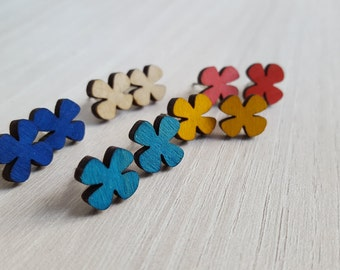 Wooden Multicolor Flower Earrings