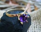 AMETHYST ring, amethyst cocktail ring, amethyst engagement ring, promise ring, 9k 9ct gold ring, amethyst gemstone gem, size 5 6 7 8 9 10