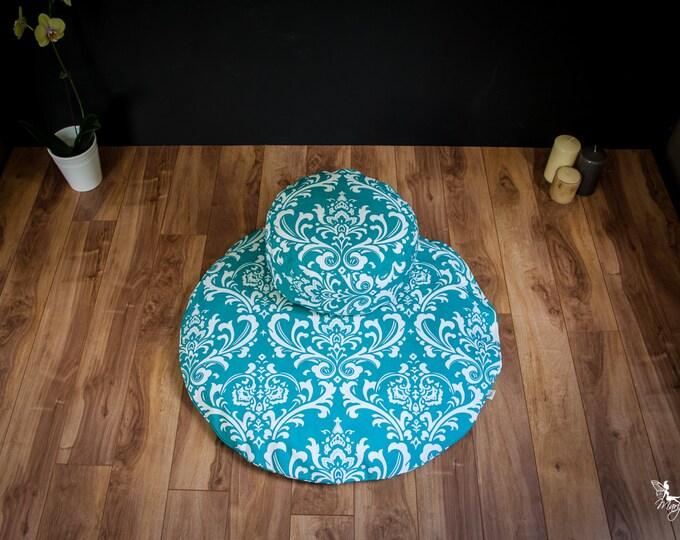 Meditation sit set Zafu Zabuton combo Teal Damask cushion mat both WASHABLE cotton organic Buckwheat pillow by Creations Mariposa