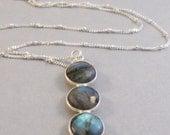 3 Moons Labradorite Necklace,Labradorite Necklace,Moon Necklace,Moon Locket,Moon Jewlery,Moon,Grey Necklace,Gemstone,Grey Seamaidenjewelry