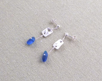 Delicate Sterling Silver Sea Glass Wave Pattern Rectangle Drop Earrings - From Precious Metal Clay & Cobalt Blue Seaham Beach Seaglass
