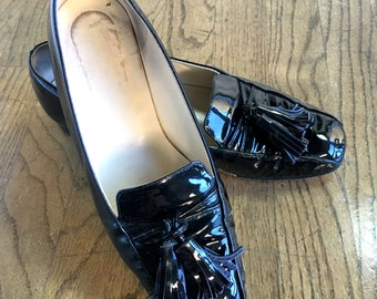 6/36 Joan& David Black Patent Leather Tassel Loafers- Italian Designer Shoes- Size 36/ 6