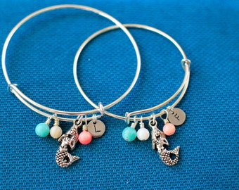 Mommy and Me Mermaid Bracelets, Beach, Vacation,Summer mother daughter little Bangle set,Stamped initial bracelet,holiday,flower girl,expand