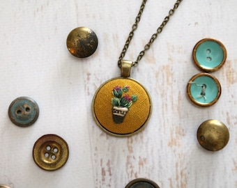 Cactus Desert Hand Embroidered Necklace Pendant - Green Purple Cacti in a pot - potted plant - succulent - Cotton Fabric  - Bronze Pendant