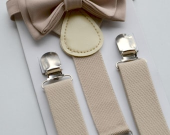 Tan Bow Tie & Tan Suspenders. SIZES - Baby - Toddler