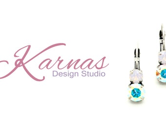 CRYSTAL AB & ROSEWATER 8/6mm Drop Leverback Earrings Swarovski Elements *Pick Your Finish *Karnas Design Studio *Free Shipping*