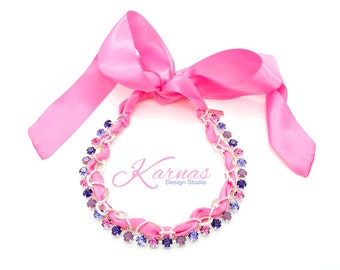 PINK BUNNY EARS 8mm Crystal Chaton Necklace Made With Swarovski Elements *Pick Your Finish *Karnas Design Studio Exclusive *Free Shipping*