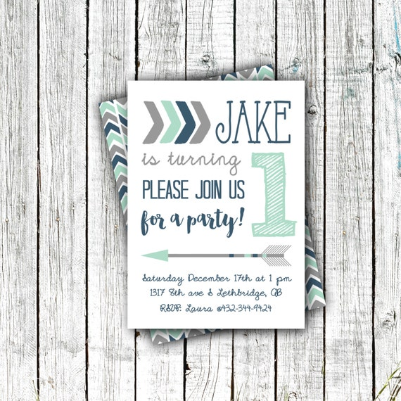 Birthday Party Invitation, Printable, Tribal arrows, Mint and Navy, First Birthday, Second Birthday, Little Boy, #41
