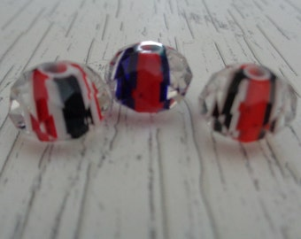 3 Czech Glass Crystal Beads 12x8mm Red White Blue Stripes Clear Crystal Coating Rondelle Faceted Beads Czech Glass Crystal Rondelle Stripes