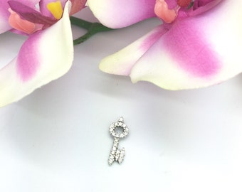 "0.44CTW ""Key to My Heart"" Pendant in 14K White Gold"