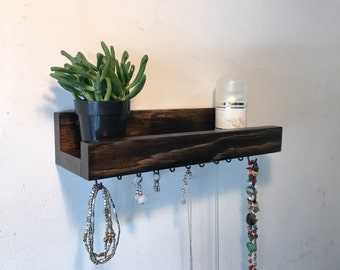 Rustic wood jewelry shelf, jewelry hooks, wall jewelry organizer, wall shelf, earring organizer, jewelry storage, jewelry holder
