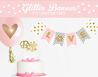 Pink and Gold Wedding Decor - Blush and Gold Wedding Decor - Wedding Shower Banner Gold Wedding Decoration Bride To Be Banner Sign (EB3062)