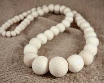 Felted Necklace Felt collar white necklace Fiber Art long white necklace handmade in Italy