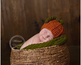 Newborn Pumpkin Outfit - Baby Halloween Outfit - Baby Pumpkin Hat - Newborn Halloween Costume - Baby Halloween Costume - Photography Prop
