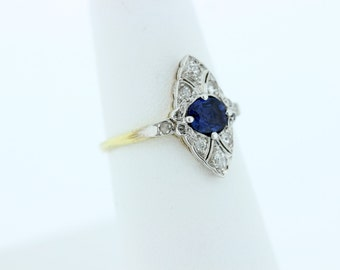 14K Yellow and White Gold Diamond and Sapphire Ring