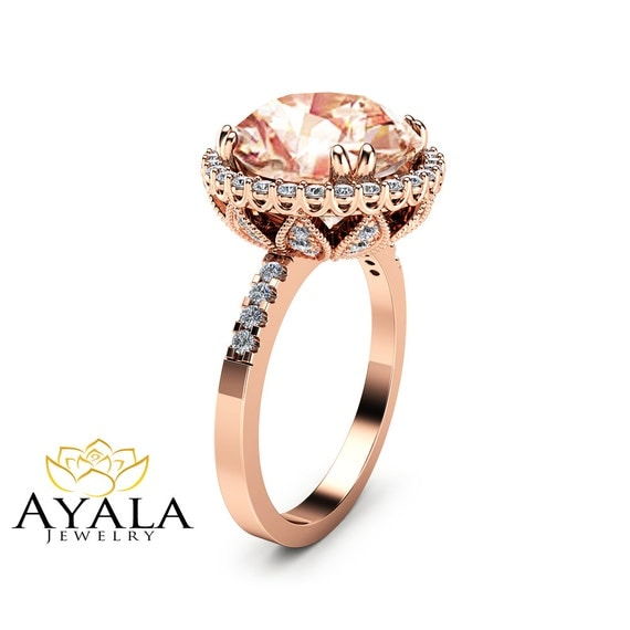 unique 5 6ct morganite engagement ring 14k gold morganite