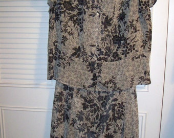 Vintage Evan Picone Two Pieced PLUS Dress Size Overblouse, Slightly Flared Skirt Size 18W