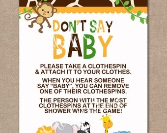 INSTANT DOWNLOAD, Jungle Baby Shower Don't Say Baby Game, Don't Say Baby, Baby Shower Game, Jungle, Safari, Boy, #0016