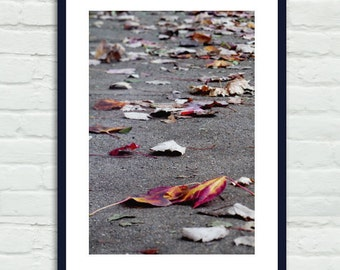 Autumn leaves photography, vertical wall art, dry leaves on ground, purple magenta grey office wall art, gallery wall print, leaf picture