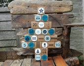 Reusable Advent Calendar, hand stamped, reuse, fill yourself, Xmas, 25 days, blue, icy, snow, traditional, tree, fun, christmas, box