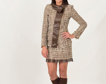Wool Tweed Jacket | Winter Jacket | Faux Leather Jacket | Stand Collar Jacket