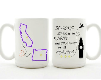 Second Star To The Right And Straight On Till Morning Mug - Friends In Different States Gift