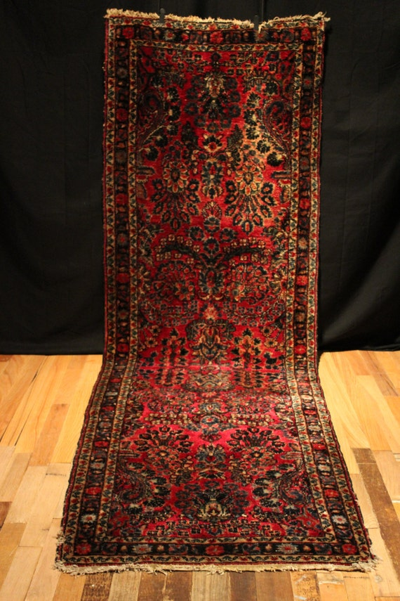 Antique Persian Rug Painted Sarouk Runner Hand Knotted Rug