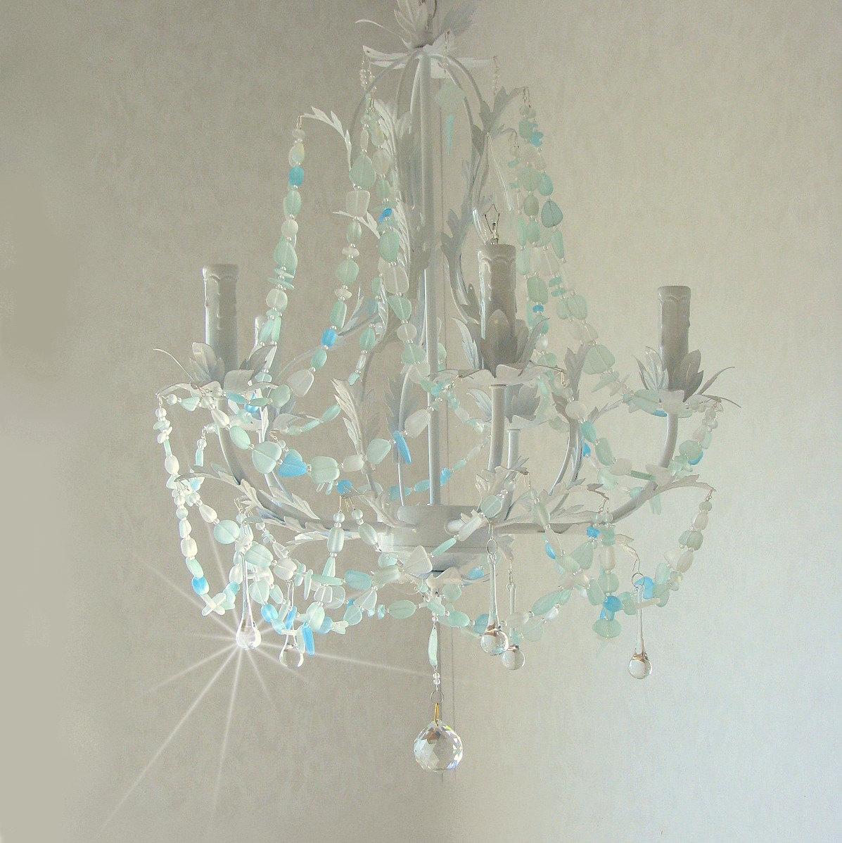 Sea glass chandelier lighting beach cottage chic coastal decor for Beach glass interior designs