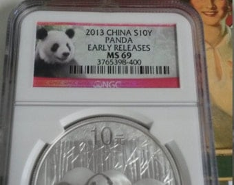 2013 China S10Y Panda Early Releases MS 69  Silver 1 oz Coin Bar Proof Chinese Panda 999 Fine