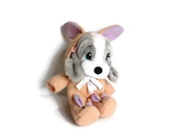 BASSET HOUND STUFFED Animal, Honey the Basset, Vintage Applause plush dog, plush Basset hound,grey Basset hound,Easter plush toy,vintage toy