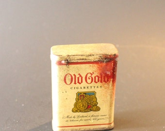 OLD GOLD CIGARETTE Tin, Vintage cigarette tin, vintage Old Gold tin, vintage decorative tin,metal tin,collectible smoking tin,tobacciana tin
