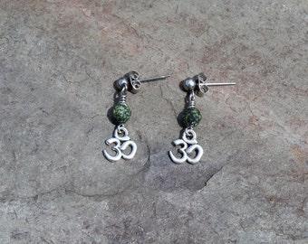 Ohm Earrings with Serpentine Stone Healing Crystals, OM earrings, Yoga Earrings, Yoga Jewelry, Stainless Steel Earrings, Meditation Stone
