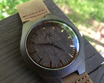 Mens Dark Ebony Wooden Watch With Custom Engraving, Wooden Watch for Him, Gift for Him, Mens Wood Watch, Wooden Watch, Wedding Gift, Wood