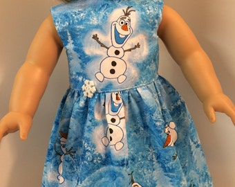 18 inch Doll Clothes, Frozen's OLAF Disney Dress with Sparkling Snowflake Button, 18 inch AG American Doll Clothes, Disney's Frozen OLAF!