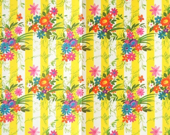 Vintage Wrapping Paper Flowers and Stripes - Vintage Wedding Gift Wrap